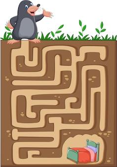 Aidez la taupe à retrouver le chemin de la maison dans un labyrinthe souterrain.