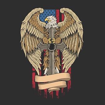 L'aigle de l'amérique avec l'épée de l'indépendance