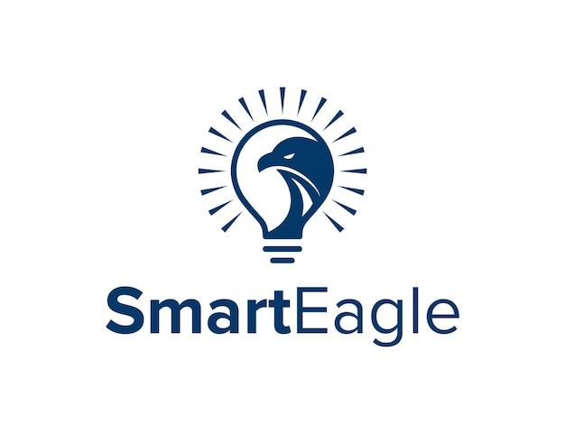 Aigle et ampoule simple design de logo moderne géométrique créatif élégant
