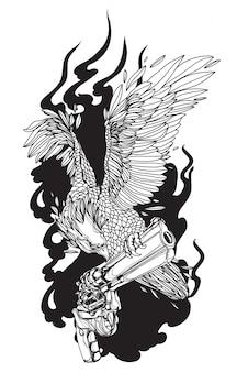 Aigle d'art de tatouage sur dessin à la main de pistolet