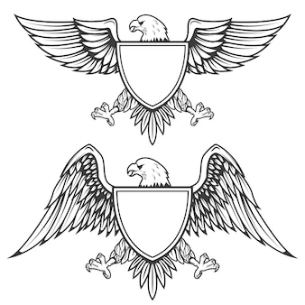Aigle avec bouclier isolé sur fond blanc. élément pour emblème, badge. illustration.