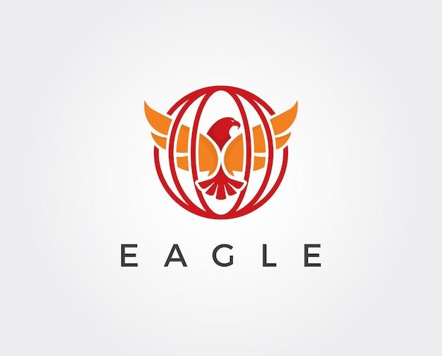 Aigle de chasse à l'aigle avec un espace négatif sur fond blanc illustration vectorielle