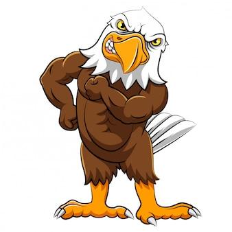 Aigle en colère dans la pose debout de l'illustration