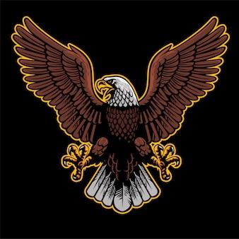 Un aigle en colère déploie les ailes