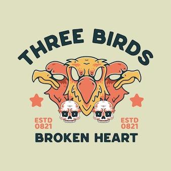 Aigle et crâne illustration style rétro pour t-shirt