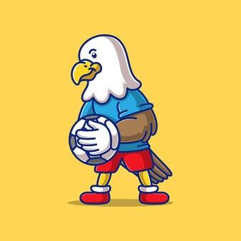 Aigle de dessin animé jouant au ballon de football