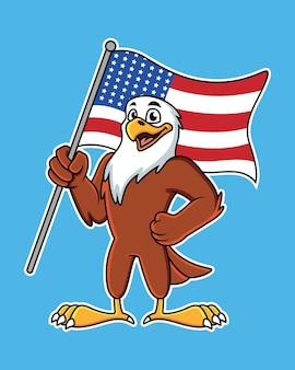 Aigle de dessin animé mignon avec drapeau américain. illustration avec des dégradés simples.