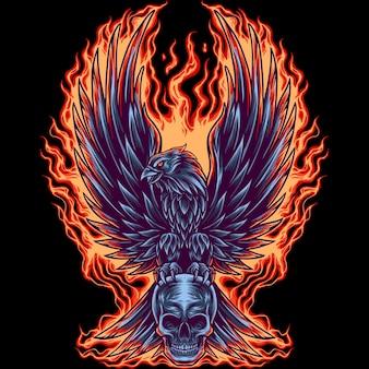 Aigle de feu avec crâne