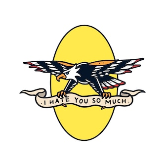 Aigle de haine dessiné main avec illustration de tatouage vieille école bannière