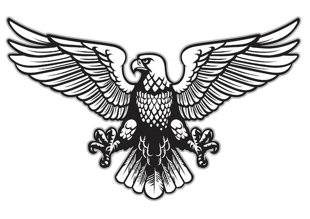 Aigle héraldique noir et blanc