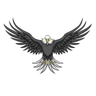 Aigle logo mascotte déployer les ailes illustration vectorielle