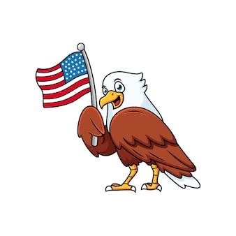 Aigle mignon avec dessin animé drapeau américain