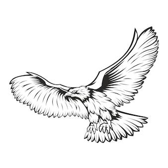 Aigle noir et blanc concept isolé sur blanc