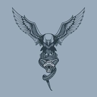 Aigle avec serpent aux griffes