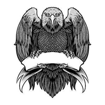 Aigle tenant le vecteur de ruban blanc