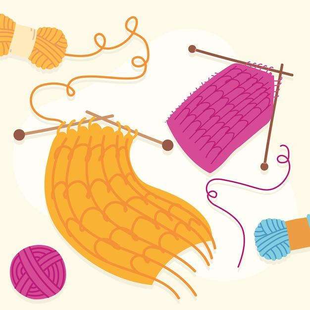 Aiguilles à tricoter avec foulards