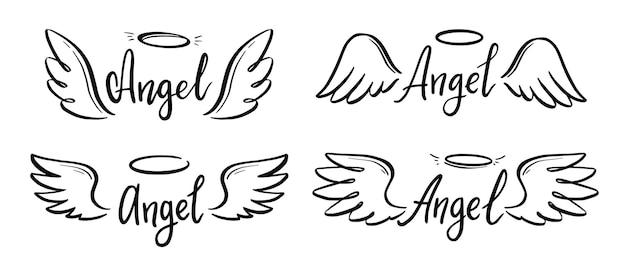 Aile d'ange avec halo et ensemble de texte de lettrage d'ange. aile de style de croquis de ligne dessinée à la main. illustration vectorielle simple.