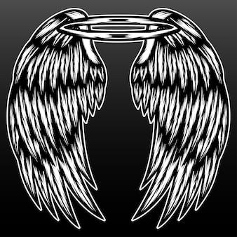 Aile d'ange vintage isolée sur fond noir