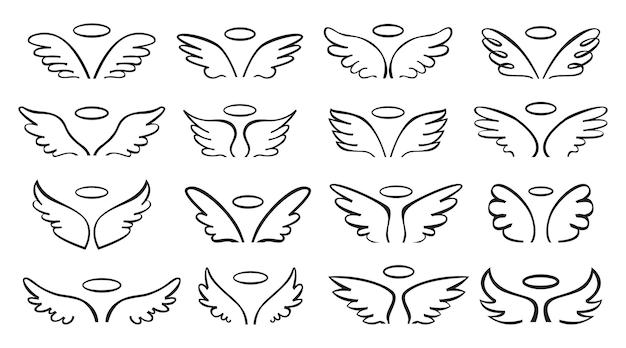 Aile de croquis paire d'ailes d'ange avec ensemble de halo