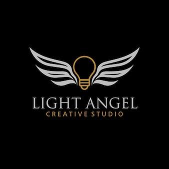 Aile légère logo monoline concept de conception de logo ange léger