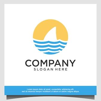 Aileron de requin avec illustration de conception de logo de vague