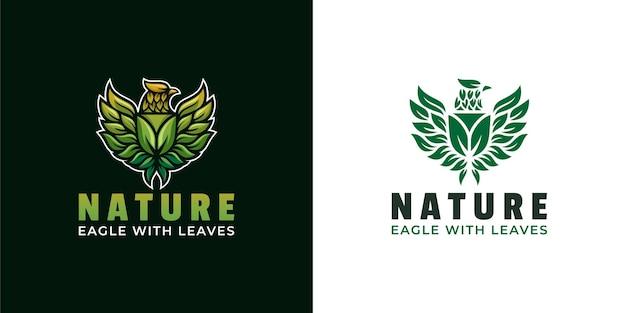Ailes d'aigle avec création de logo de feuilles de bouclier