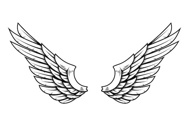 Ailes d'aigle dans le style de tatouage isolé sur fond blanc. élément de design pour affiche, t-shirt, carte, emblème, signe, badge. illustration vectorielle