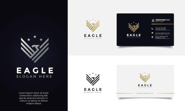 Ailes d'aigle élégant design de logo de couleur dorée de luxe et carte de visite
