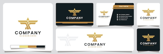 Ailes d'aigle, élégantes, luxe, couleur dorée, inspiration de conception de logo