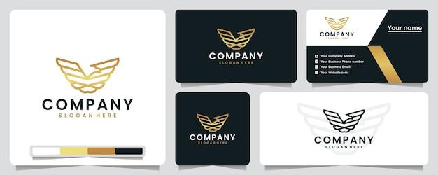 Ailes d'aigle, or, vol, inspiration de conception de logo