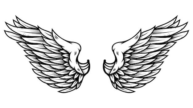 Ailes d'ange dans le style de tatouage isolé sur fond blanc. élément de design pour affiche, merde, carte, emblème, signe, badge. illustration vectorielle