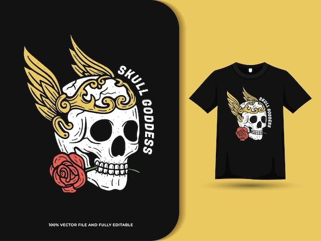 Ailes de crâne et illustration vintage rose avec modèle de conception de t-shirt