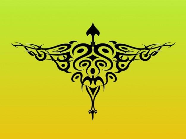 Ailes graphiques de tatouage d'oiseaux tribales