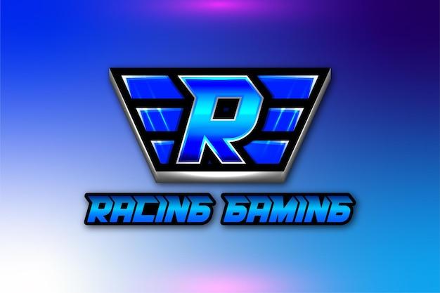 Ailes de lettre initiale r, logo de jeu