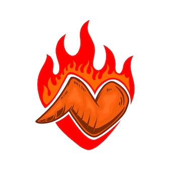 Ailes de poulet au feu. élément de design pour affiche, emblème, signe, flyer. illustration vectorielle