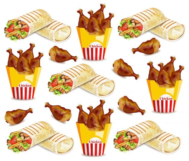 Ailes de poulet et motif de shawarma
