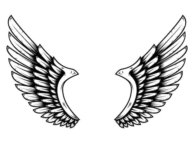 Ailes en style tatouage isolé sur fond blanc. élément de design pour affiche, merde, carte, emblème, signe, badge. illustration vectorielle