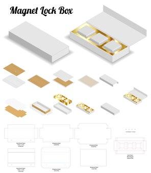 Aimant serrure rigide boîte 3d maquette avec dieline