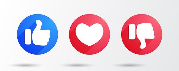 Aime le cœur et n'aime pas les icônes plates