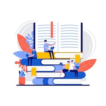 Aime le concept de lecture avec caractère. les gens de la littérature sur une énorme pile de livres.