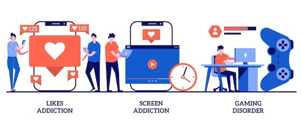Aime la dépendance, la dépendance à l'écran, le concept de trouble du jeu avec des personnes minuscules