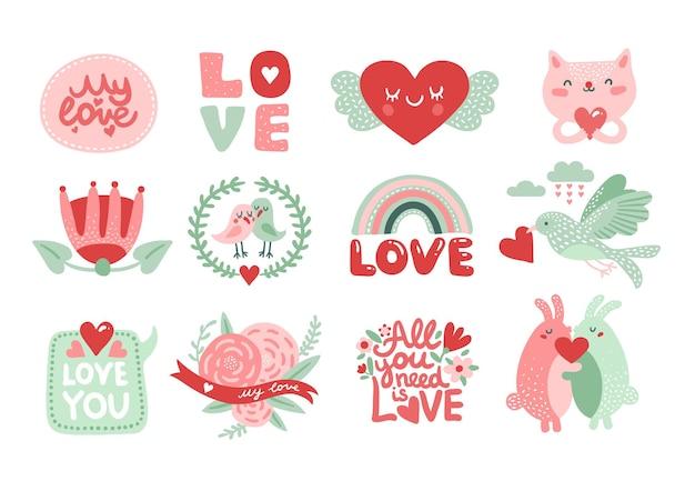 Aime les éléments de l'album. lettrage de saint valentin avec chat, lapins et oiseau avec coeur rouge, fleurs et couronne.