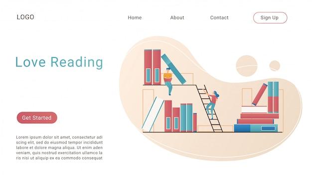 Aime lire le modèle de vecteur isométrique de page de destination. éducation, étude et littérature concept 3d. lecture de livres et recherche d'informations. passe-temps, temps libre. disposition de la page d'accueil du site web de la bibliothèque et de la librairie