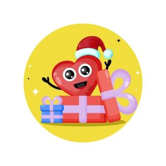 Aime le logo de personnage mignon de cadeau de noël