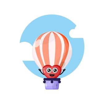 Aime la mascotte de personnage mignon de montgolfière
