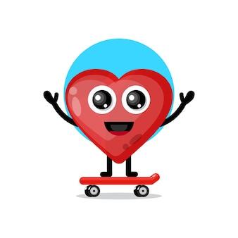 Aime la mascotte de personnage mignon de skateboard