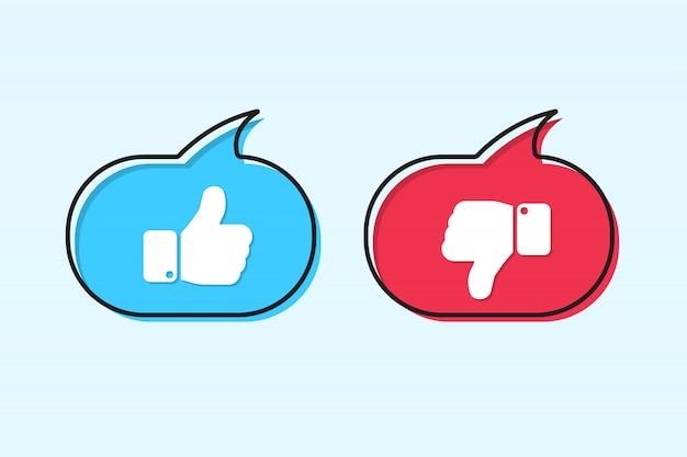Aime et n'aime pas les icônes dans la bulle de dialogue dans un design plat