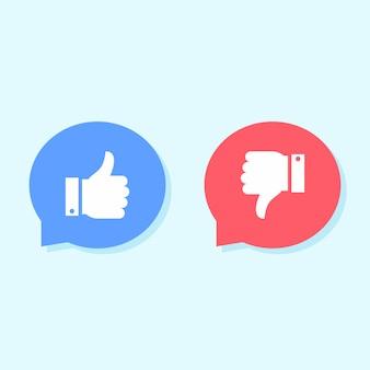 Aime et n'aime pas les icônes, les icônes de médias sociaux