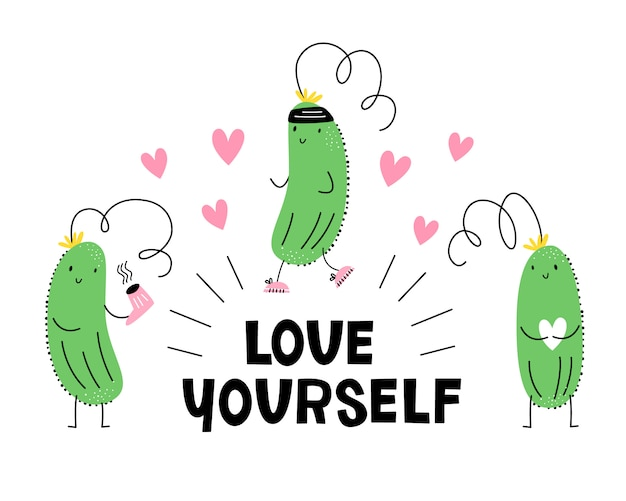 Aime toi toi-même. illustration vectorielle avec concombre beauté, sport et amour. emoji