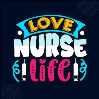Aime la vie d'infirmière conception de citations d'infirmière vecteur premium